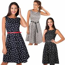 Womens Vintage Pin Up Flared Butterfly Midi Tea Dress Red Belted Skater Summer