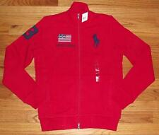 NEW Polo Ralph Lauren Womens BIG PONY LOGO Sweatshirt USA Flag Track Jacket *1F