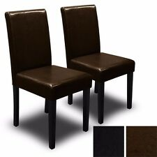 Set of (2) Black/Brown Elegant Design PU Leather Contemporary Dining Chair Room