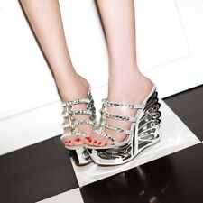Top Women's Platform Shoes Wing Wedges Pumps Wedding Party Strappy Sandals Mules