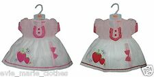 NEW BABY GIRLS STRAWBERRY DRESS + KNICKERS HEADBAND OUTFIT SET 3-6-9-12 MONTHS