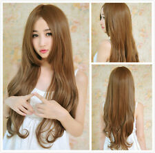 Women's 70cm Brown Bangs Long Curly Wave Heat Resistant Hair Cosplay Wigs+ Cap