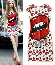 Womens Cocktail with Party Mini Dress Sexy Lips Kiss Print Stretch Bodycon Dress