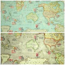 World Map Atlas Fabric 100% Cotton Linen Look Blue or Taupe Colourway 135cm Wide