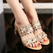 hot sale womens rhinestone chunky heel sandals open toe shoes flip flops size