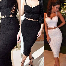 2PCS Womens Sexy Club Cocktail Evening Party Crop Tops Skirt Mini Wiggle Dresses