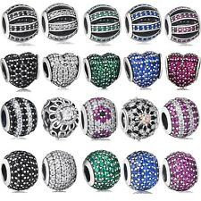 925 Sterling Silver Brand New Pave Crystals Charm Bead Fit 3mm European Bracelet