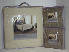 LOT 3- Jennifer Lopez GATSBY Quilted COVERLET + EURO SHAMS - Quilt IVORY / Cream
