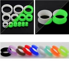 PAIR Silicone Ear Skins-Ear Gauges Soft Ear plugs Thin Flesh Tunnels Ear Tunnels