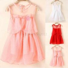 Baby Kids Girl Princess Sheer Tulle Tutu Dress Lace Vest Party Sundress S M L XL