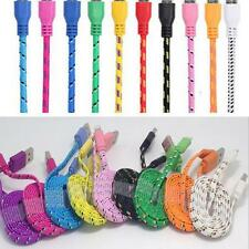 1M-3M Micro USB Charger Sync Data Cable Cord for iPhone 5 6 Flat Noodle Braided