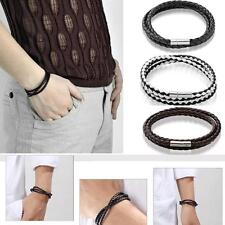 Men Womens - Vintage Leather Braided Surfer Bracelet Wristband Bangle Hemp Woven