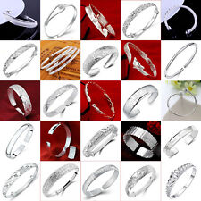 Popular Women Fashion 925 Sterling Silver Cuff Bangle Chain Bracelet Jewelry New