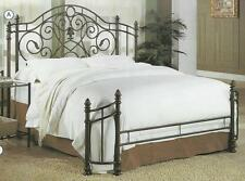 NEW QUEEN or FULL SIZE BRONZE GOLD FINISH IRON METAL HEADBOARD & FOOTBOARD BED