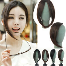 Women inclined part bangs hairpieces clip in hair extensions all colors soft 3O9