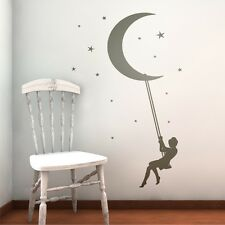Wall Tattoo Stickers Bedrom Moon-Swing Sayings Decoration