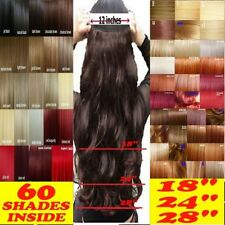 """Long New Real Full Head Women Clip in Hair Extensions 12"""" Wide Brown Black hh99"""