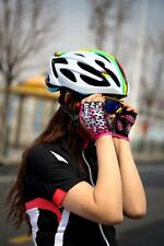 SAHOO Bike Bicycle Sport Shockproof Sports Pad Cycling Half Finger Glove Pink