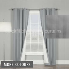 8 X 100% Blockout Eyelet Curtains Thermal Coated Blackout White Grey Black Latte