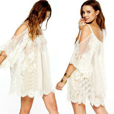 Vintage Damen U-Neck Hippie Boho Kleider Embroidered Floral Lace Mini Dress Weiß