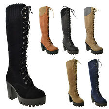 Womens Lace Up Knitted Collar Platform Chunky Heel Knee High Boots Taupe