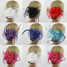 7Colors Big Flower Fascinator Corsage Bridal Wedding Races Head Hair Clip Brooch