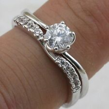 Size 7 8 9 2in1 Classy White CZ Jewelry Gold Filled Engagement Ring Sets R2138