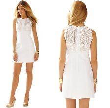 2015 $298 Lilly Pulitzer Breakers Lace Top Shift Dress Resort White 002468101214