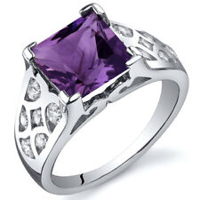 V Prong Princess Cut 2.25 cts Amethyst CZ Ring Sterling Silver Sizes 5 to 9