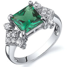 Princess Cut 1.50 cts Emerald Ring Sterling Silver Sizes 5 to 9