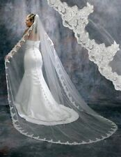 New White Ivory Cathedral 1 Tier Wedding Veil Lace Purfle 3 meter Long With Com