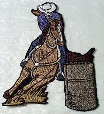 """Exciting BARREL RACING Large Embroidered Iron On Patch - 4.25"""" x 5.5 Made in USA"""