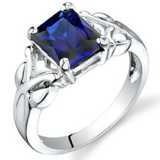 3.00 cts Radiant Cut  Sapphire Ring Sterling Silver Size 5 to 9