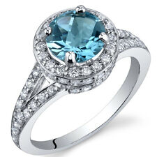 1.50 cts Swiss Blue Topaz Ring Sterling Silver Size 5 to 9