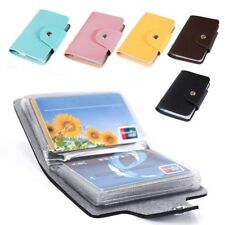 3 Color Pocket Leather Business ID Credit Card Holder Case Wallet for 24 Card
