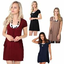 Womens Casual 2 in 1 Short Sleeve Mini Jersey Tunic Dress Loose Oversized 4-16