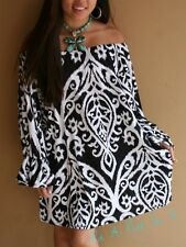 "PLUS SIZE OFF SHOULDER BLACK WHITE "" ABBEY ROAD "" BELL MINI DRESS TUNIC 1X 2X 3X"