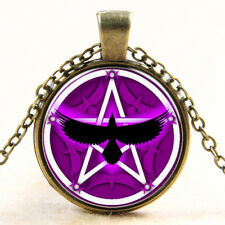 Witchcraft Pentacle Wicca Raven Pentagram Art Pendant Pagan Crow Necklace Chain