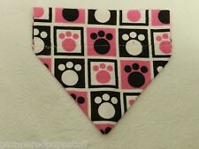 DOG CAT FERRET REVERSIBLE Over Collar Bandana~Pink & Black Paw Print Squares!