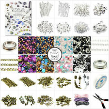 Large Silver Plated Jewellery Making Starter Kit Instructions Tools Cords Beads