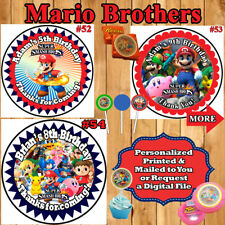 Super Mario Brothers Birthday Stickers 1 Sheet Favor Bag/Box Labels Personalized
