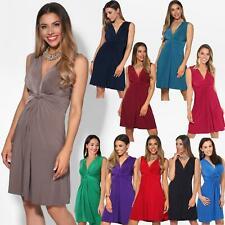 NEW Womens Deep V Neck Sleeveless Stretch Solid Summer Dress Knot Front