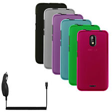Transparent Matte TPU Flex-Gel Rubber Case Cover + Car Charger for BLU Studio G