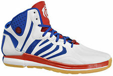 New $140 Adidas D Rose 4.5 Mens Basketball Shoes - White Blue Red