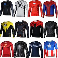 Men's Superhero Marvel Cycling Tee T-Shirt Long Sleeve Bicycle Jersey Top Shirts