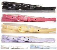 NEW FASHION BELTS WOMENS LADIES FAUX LEATHER SLIM BUCKLE THIN WAIST BELT