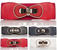 NEW FASHION BELTS WOMENS LADIES FAUX LEATHER WIDE ELASTIC BUCKLE THIN WAIST BELT