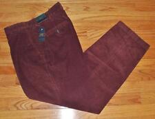 NWT Mens Brooks Brothers Burgundy Maroon Flat Front Corduroys Pants Trousers *E4