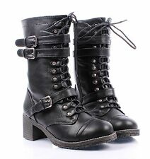 BAMBOO Black Lace Up ZIp Combat Military Mid-Calf Women High Heels Boots Shoes