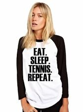 Eat Sleep Tennis Repeat Baseball Top Player Base Ball Tee Girls Shirt